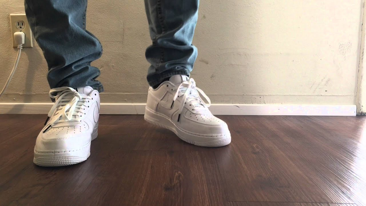 nike lab air force one low white on feet youtube