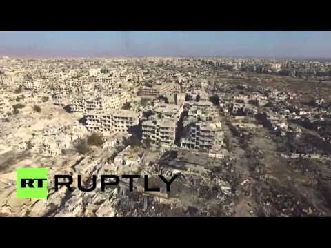 Syria: Drone captures devastated Damascus suburb