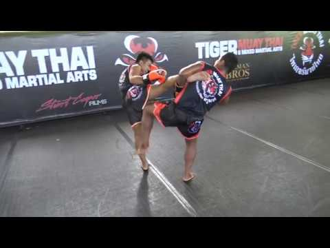 Muay Thai Technique: Catch Kick - Knee To Thigh  - Sweep