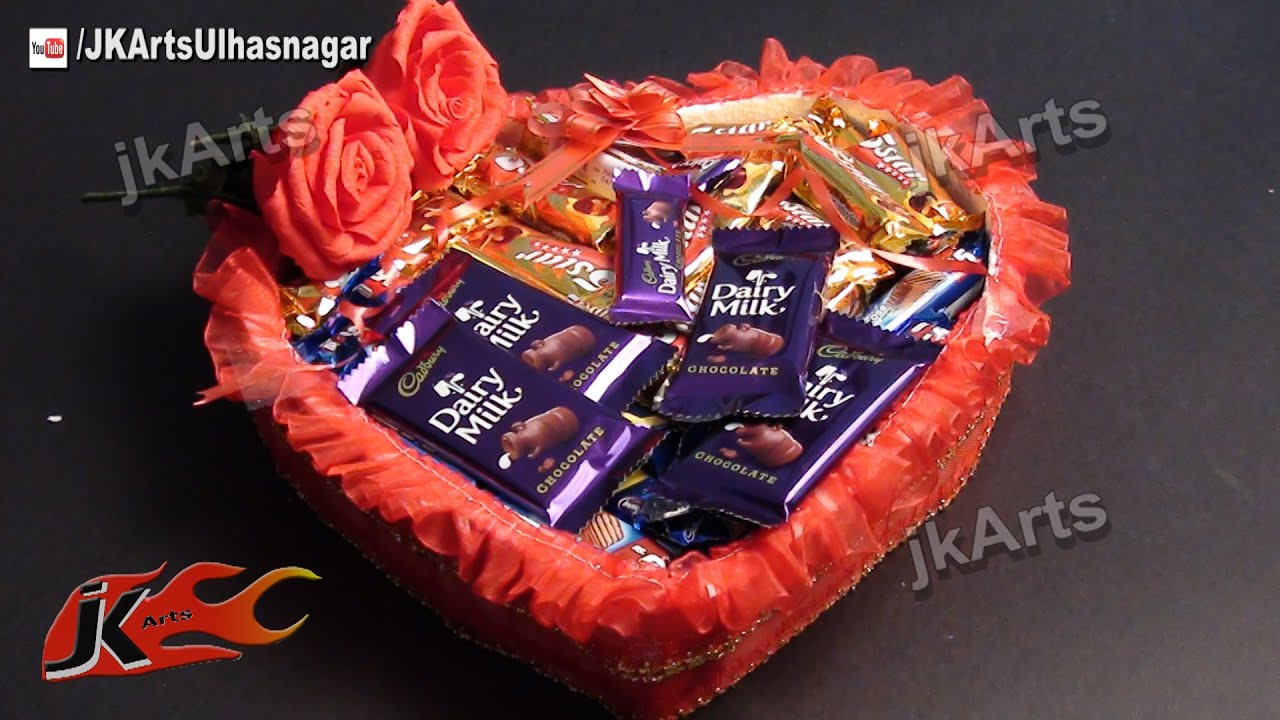 Diy valentines gift idea chocolate basket jk arts 481 youtube negle Choice Image