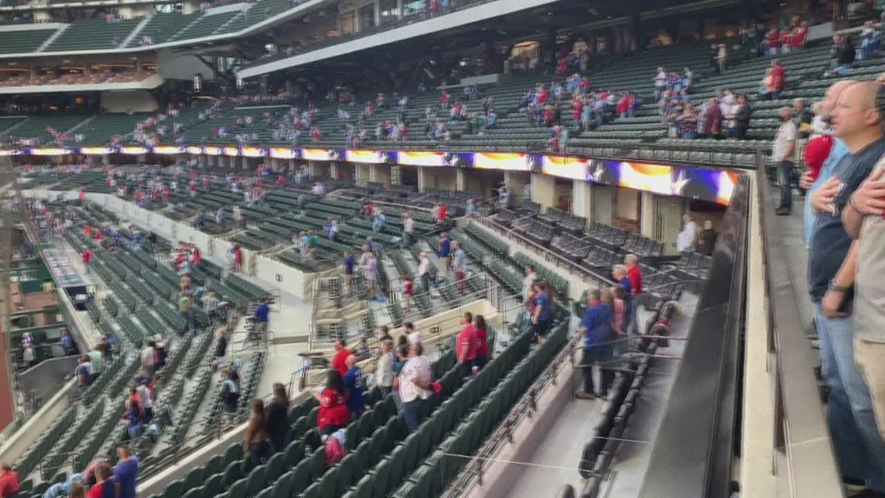 Texas Rangers open ballpark to full-capacity crowd for home opener ...