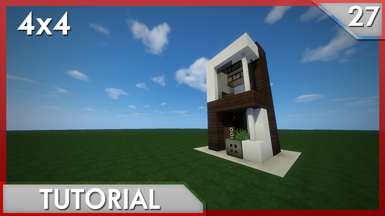 Minecraft como hacer una casa moderna 4x4 27 youtube for Casa moderna 4x4