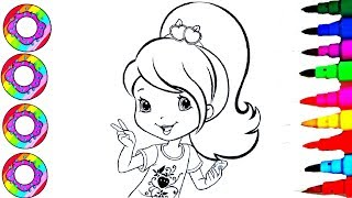 Coloring Drawings Strawberry Shortcake with Golden Sparkle Hair Coloring Sheets Coloring Pages