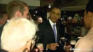 Barack Obama drinks Guinness and tells jokes in Moneygall pub on official visit to Ireland and UK