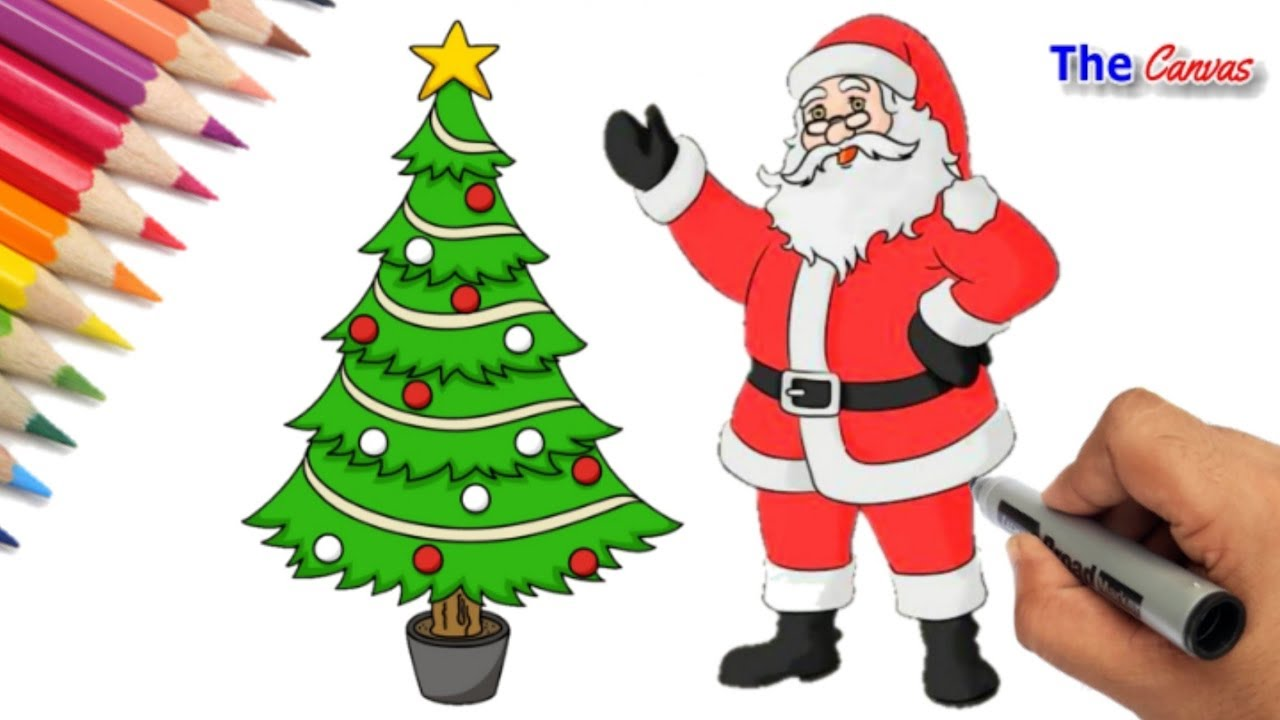 christmas drawing santa how to draw santa claus and christmas tree santa claus drawing youtube christmas drawing santa how to draw santa claus and christmas tree santa claus drawing