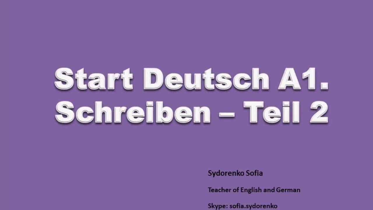 Start Deutsch A1 Schreiben Teil 2 Briefe Eng Youtube