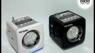 mini caixa de som mp3 mp4 rádio fm usb pendrive recarregavel alba eletrônicos demonstracão