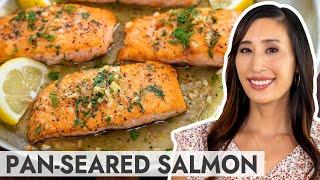 Crispy Pan-Seared Salmon wİth Lemon Garlic Sauce