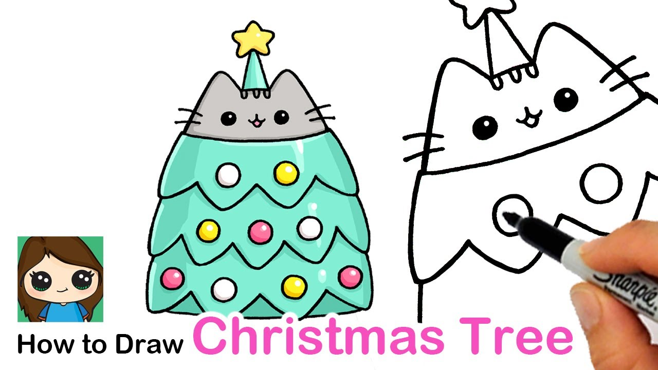 How To Draw A Pusheen Christmas Tree