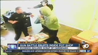 Surveillance video of gun battle in pot shop revealed in court