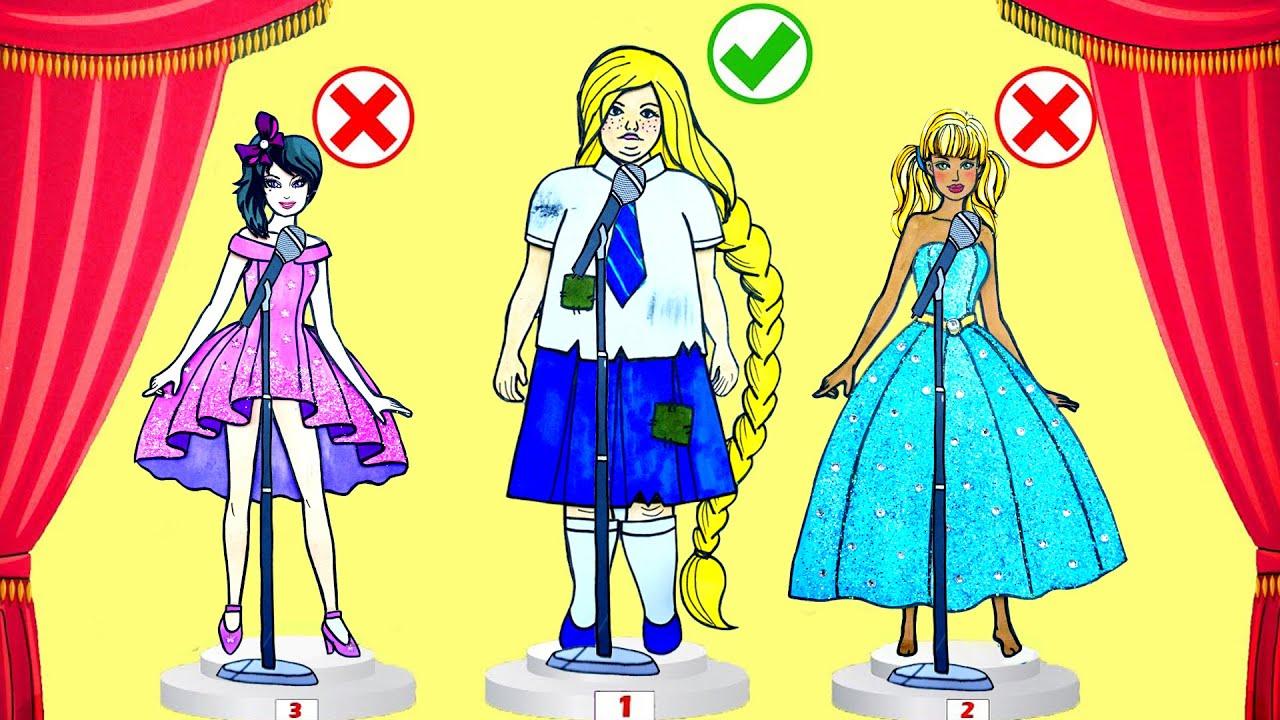 Paper Dolls Dress Up Rapunzel Fat Poor Simple Papercrafts Dresses Handmade Quiet Book