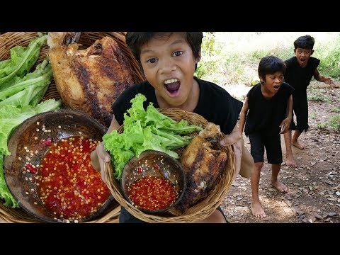 Survival Skills Primitive - Cooking fish and eating ep002