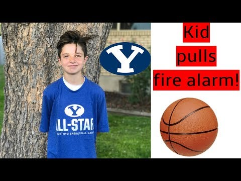 BYU Basketball Camp... Kid Pulls Fire Alarm At College!!!?