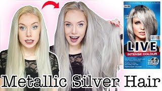 SILVER HAIR TUTORIAL USING SCHWARZKOPF LIVE URBAN METALLICS U71 SILVER HAIR DYE | ELLIE KING