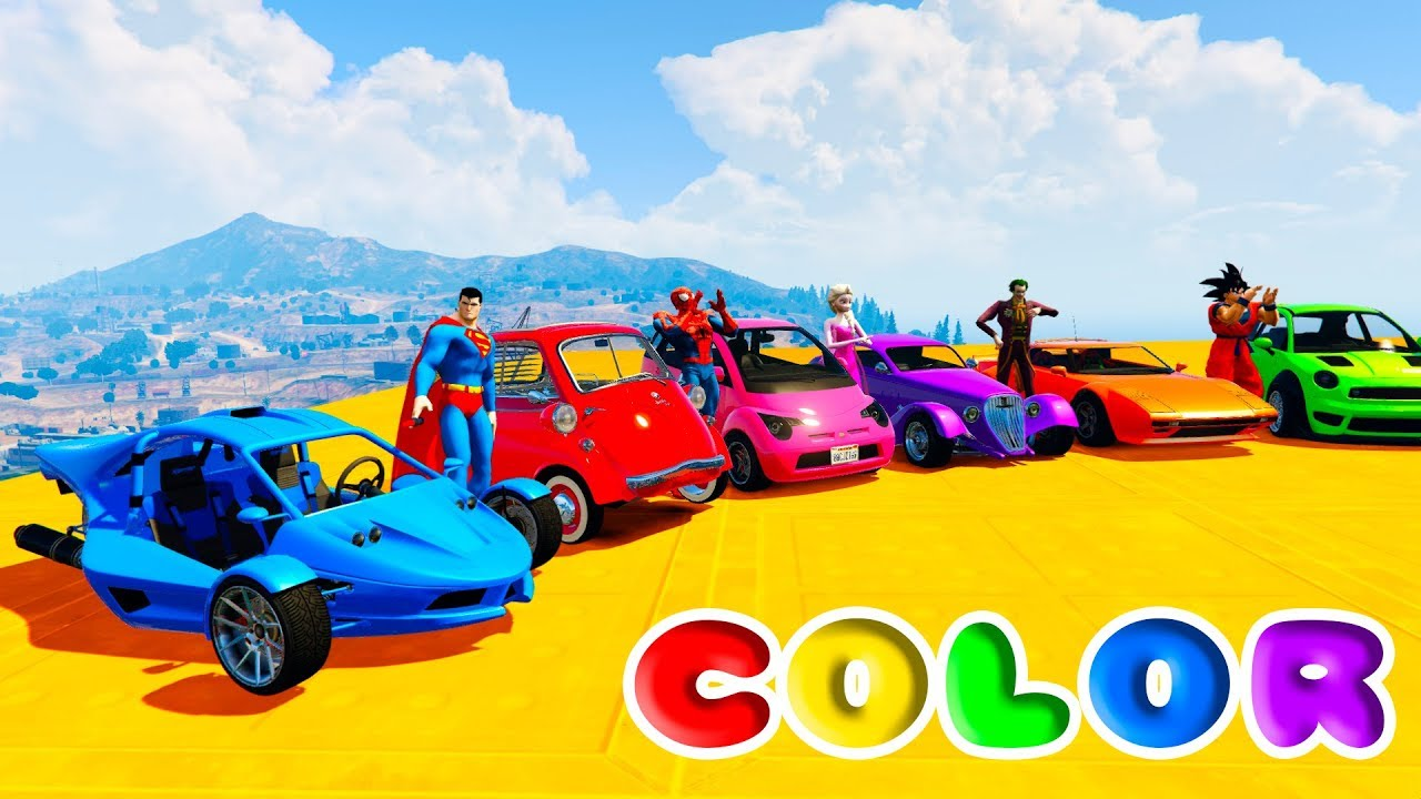 - LEARN COLOR SMALL CARS Fun Little Cars W/ Superheroes For Kids