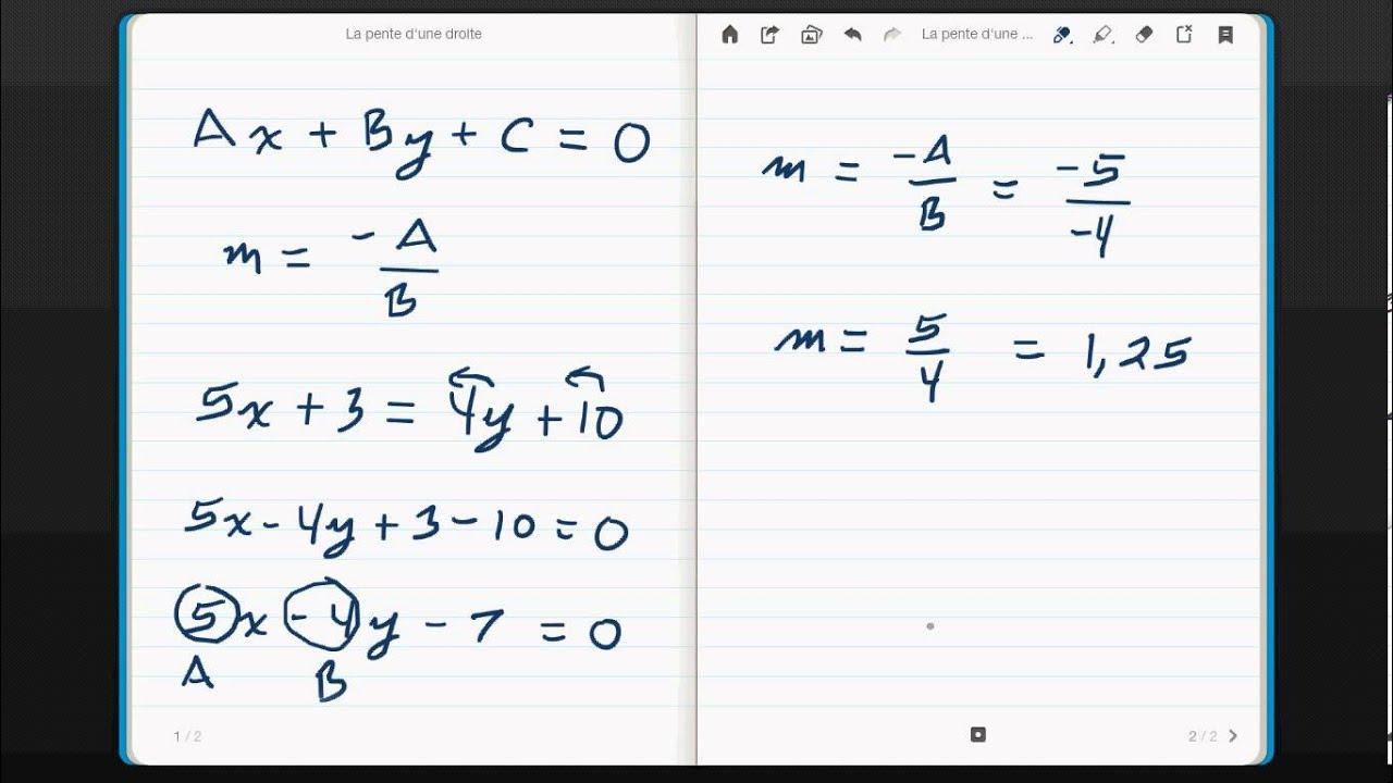 D terminer la pente d 39 une quation sous la forme g n rale for Calcule d une pente
