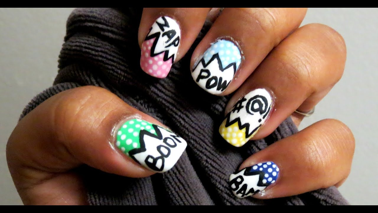 Comic book nail art action words explosion bubbles youtube prinsesfo Images