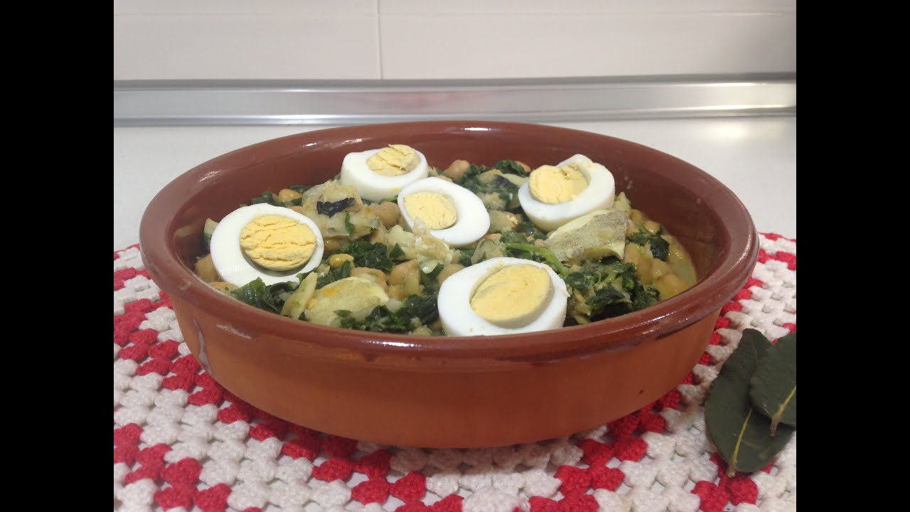 Receta potaje de garbanzos con bacalao y espinacas - Potaje de garbanzos con bacalao ...