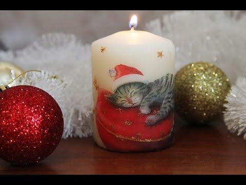 Готовимся к Новому году! Декупаж свечи с помощью фена
