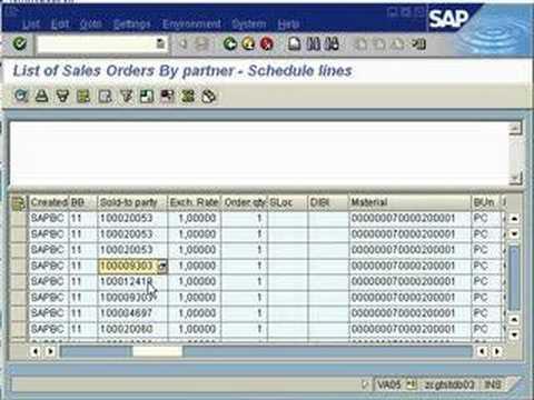 SAP SD VA05 Display Sales Documents