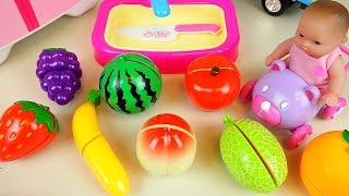 Fruit Vegetable cutting with Baby Doll and Play Doh surprise refrigerator toys