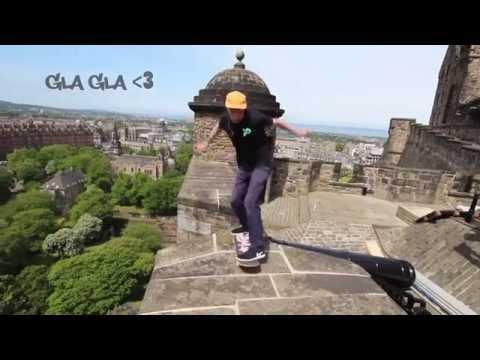 Man rides skateboard on top of Edinburgh Castle
