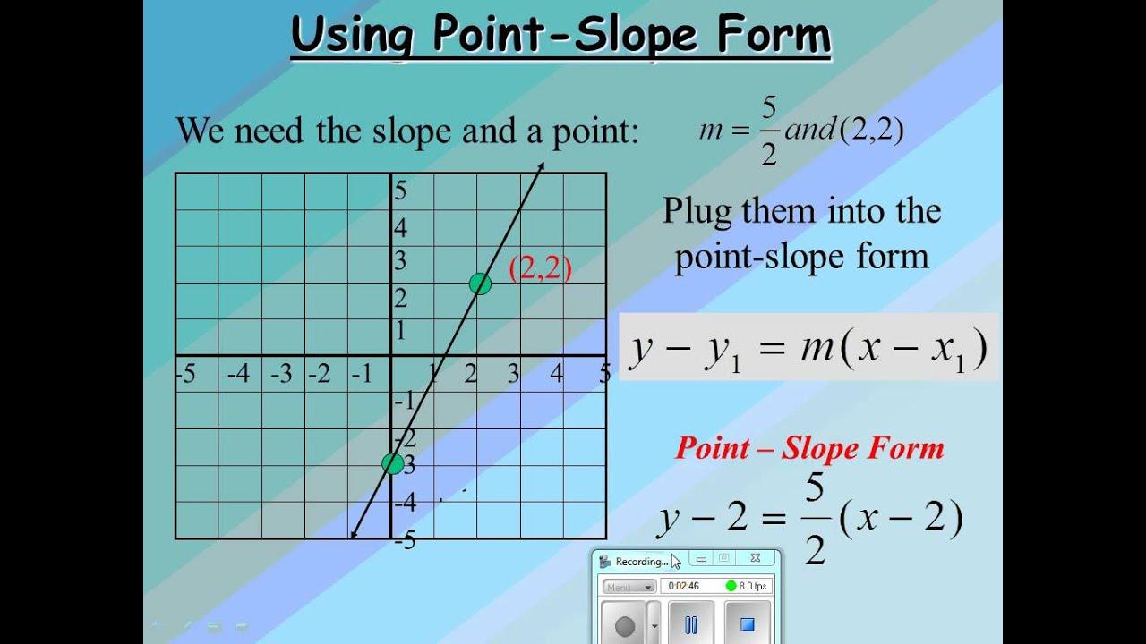 writing equation using point slope method  youtube