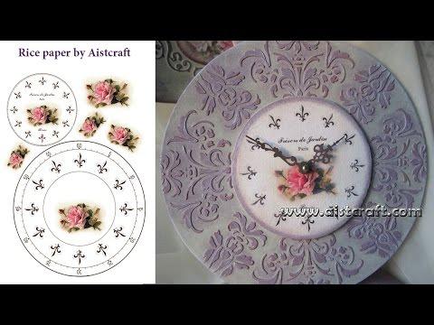 Decoupage tutorial How to make raised stencil Vintage clock