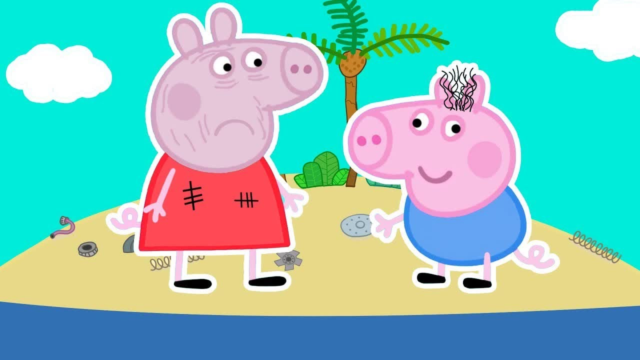 Download Cast Away - Peppa and Roblox Piggy Funny Animation png