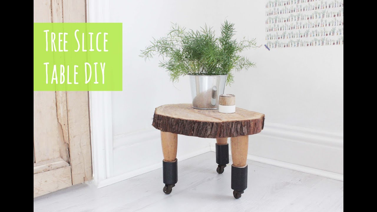 Tree slice table easy diy project