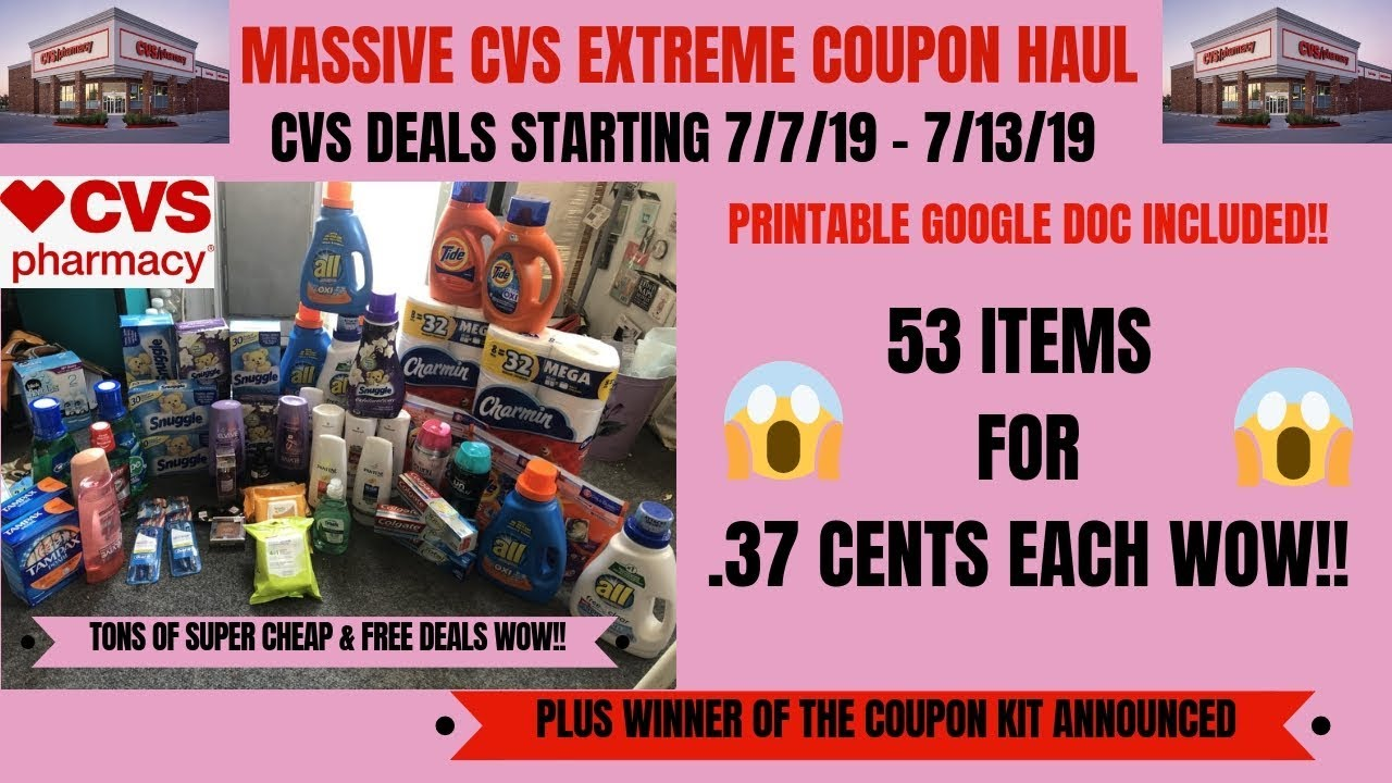 MASSIVE CVS EXTREME COUPON HAUL DEALS STARTING 7/7/19~53 ITEMS ONLY .37 CENTS EACH~LOTS OF FREE ❤️