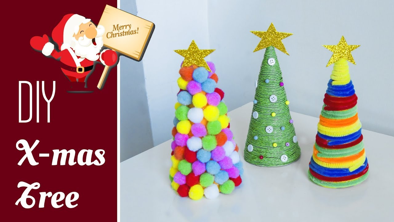 3 diy tabletop christmas tree very easy christmas decoration ideas beads art - Homemade Christmas Tree Decoration Ideas