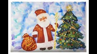 Как нарисовать Деда Мороза поэтапно. Видео уроки рисования для детей 5-8 лет