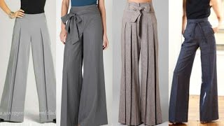 New Trend For 2019//Wide Leg Trousers Designs For Women's