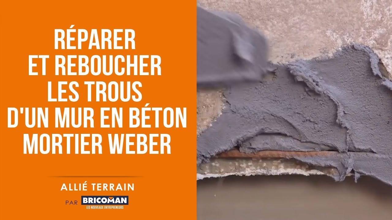Allie Terrain Reparer Et Reboucher Les Trous D Un Mur En Beton Avec Le Mortier Weber Youtube
