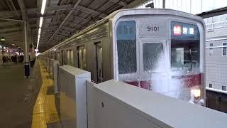 雪の中を走る東武9000系9101F 和光市駅にて[HD]