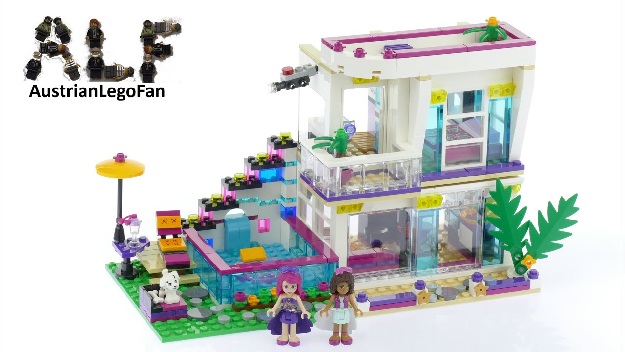 Lego friends 41135 livi 39 s pop star house lego speed for Olivia s garden pool instructions
