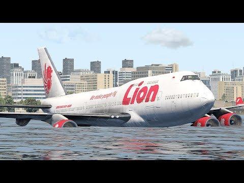 Boeing 747 Darurat Mendarat Di Atas Air (HD)