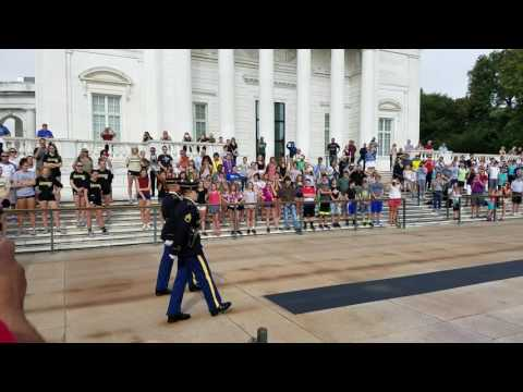 Honor flight Sept 2016 at Tomb of unknown soldier (Changing of the guards)