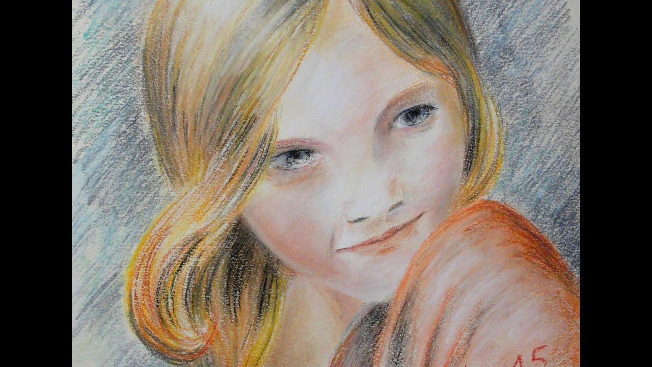 Très dessin portrait au pastel sec, exemple ou comment dessiner au  BO03