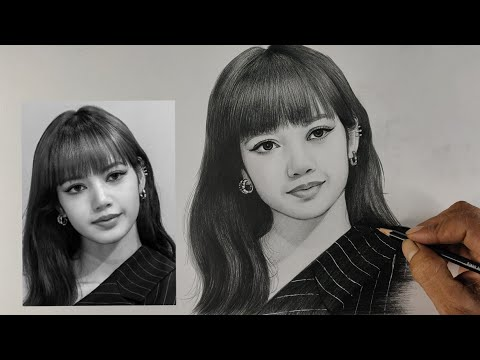 Blackpink Lisa pencil drawing / live Art chennai/ Thai Raper