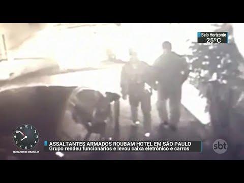 Bandidos armados invadem hotel e roubam caixa eletrônico em SP | SBT Notícias (15/11/17)