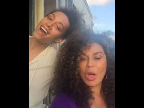 Singer Solange Knowles with mom