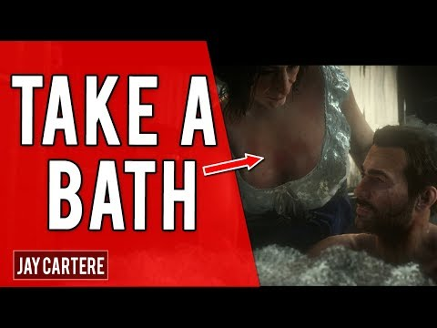 Red Dead Redemption 2 PS4 Tutorial - HOW TO TAKE A BATH - WASH ARTHUR AND HIS CLOTHES