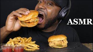 ASMR SPICY CHICKEN SANDWICH AND CAJUN FRIES. MUKBANG  (NO TALKING). TCASMR