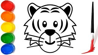 How to Draw a Kids Tiger step by step for children   Drawing and coloring a tiger for kids