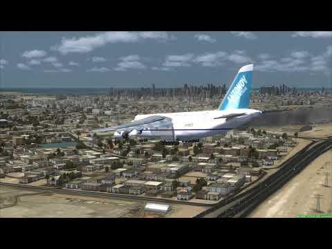 Emergency Landing Dubai ANTONOV 124 [Engine Fire]