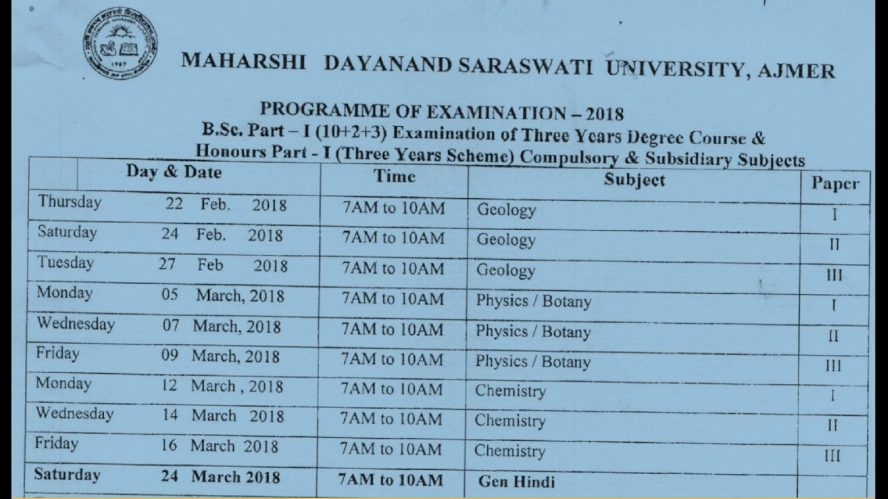 Science B  Sc  Part 1st Year Exam Time Table 2018 || Exam Date Sheet 2018  || Mdsu Ajmer 2018