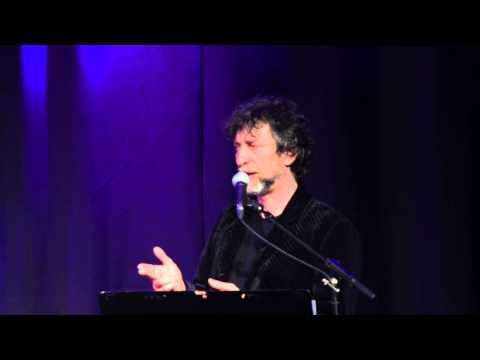 Neil Gaiman performing with FourPlay String Quartet in London