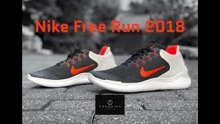 Nike Free Run 2018 'blk/total crimson-vast grey' | UNBOXING & ON FEET | running shoes | 4K